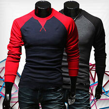 Men's Fashion Casual Slim Fit T-shirt Crew-neck Long Sleeve Patchwork Tops Braw
