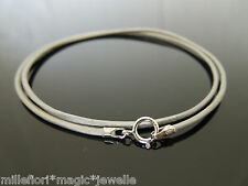 "1.5mm Metallic Grey Leather & Sterling Silver Necklace Or Wristband 16"" 18"" 20"""