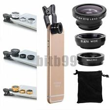 3 in1 Fish Eye + Wide Angle + Macro Camera Clip-on Lens for iPhone 6S/Plus 5/ XG