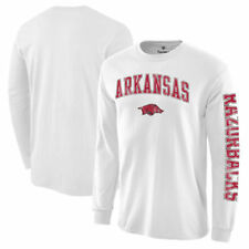 Arkansas Razorbacks White Distressed Arch Over Logo Long Sleeve Hit T-Shirt