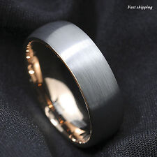 8mm Silver Brushed Rose Gold Tungsten Carbide Mens Wedding Band ATOP Mens Ring
