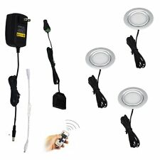 Recessed Under Cabinet LED Lighting 3 Lamps Kit with Wireless RF Remote Control