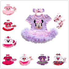 Baby Girl 3PCS Minnie Mouse Romper Jumpsuit Dress Pram Shoes Headband Outfits