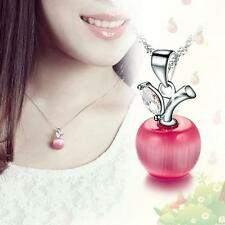 Fashion Charm Crystal Silver Plated Small Apple Opal Pendant Necklace