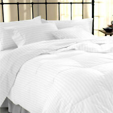 1000 / 1500 TC White Striped Duvet/Sheets 100% Egyptian Cotton All Size Fast P&P