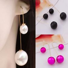 Fashion Dangle Drop Jewelry Long Chain Pearl Earrings Silver Plated
