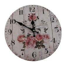Vintage Wood Floral Wall Clock Decorative Silent Round Kitchen Home Decor 3Style