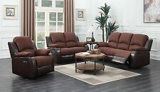 The Room Style 2-Tone Brown Reclining Sofa Loveseat Living Room Set