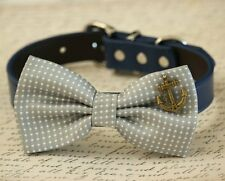 Gray dog bow tie collar, Anchor, Nautical, Beach Wedding accessory, Dog birthday