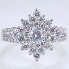 Fashion Jewelry 925 Silver Clear Topaz  Women Wedding Engagement Ring Size 6-10