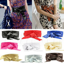 Womens Soft PU Leather Self Tie Bow Buckle Wrap Around Obi Waist Band Boho Belt