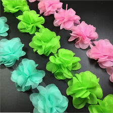 12x Flowers 3D Petals Chiffon Leaves Trim Wedding Dress Bridal Lace Trim Sweing