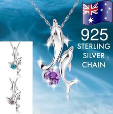 Double Dolphin Crystal Pendant Necklace (925 Sterling Silver option) +Gift Pouch