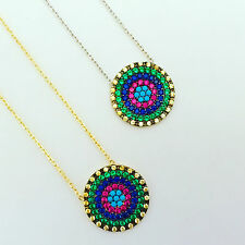 925 Sterling Silver / Gold Cubic Zirconia Turquoise Evil Eye Mati Nazar Necklace