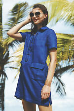 NIP Anthropologie Lace-Up Linen Dress by Maeve Sz 6 $148