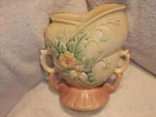 "Vintage Hull Art Pottery W-5 6 1/2"" Pink Base, Double Handle, Wildflower Vase"