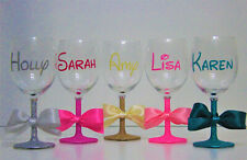 Personalised Name Glitter Wine Glass Birthday Hen Party Mothers Day 16 Colours