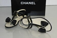 $875 New 16 P Chanel BOW PEARLS Black Leather CC Flats Flat Thong Sandals Shoes