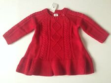 Baby Gap Girls RED Cable Knit Sweater Dress NWT size 6 9 12 18 24 m Holiday CUTE