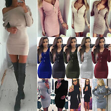 Sexy Womens Long Sleeve Slim Bodycon Knitted Sweater Pullover Mini Jumper Dress