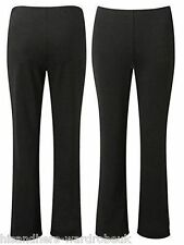 LADIES WOMENS 2 PAIR FINE RIBBED BOOTLEG STRETCH TROUSERS PANTS SIZE-10-24