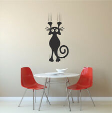 Cat Scratching Wall Decal, Cat Falling Wall Vinyl, Funny Cat Wall Sticker, a96