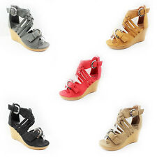 WOMEN'S LADIES STRAPPY BUCKLE PLATFORM HIGH WEDGE HEEL ANKLE SANDALS SHOES 3-8