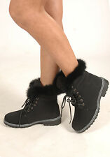 New Womens Faux Fur Trim Lace Up Flat Worker Boots
