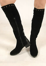 New Womens Black Knee High Soft Suede Gold Stud Detailing Boots