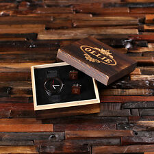 Personalized Black Wood Watch and Cufflinks w/ Printed or Engraved Wood Box