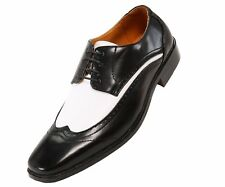 Bolano Mens Two-Tone Black and White Oxford Dress Shoe: Style P1056-000