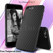 New Silicone/Rubber/Gel Black Slim Tempered Glass Case For iPhone 6 6s 7 7 Plus