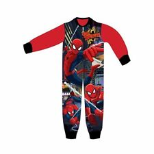 Spiderman Fleece Pyjamas Onesie Sleeping Suit Official Avengers Kids Boys 3-8yrs