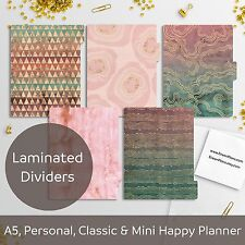 Pink Emerald - Laminated Planner Dividers - Happy Planner, Filofax A5 Personal
