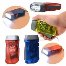 3 LED Dynamo Wind Up Flashlight Torch Light Hand Press Crank NR Camping@WS