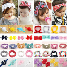 Cute Baby Girls Bunny Rabbit Bow Knot Turban Headband Flower Hairband Headwrap