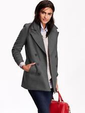 OLD NAVY WOMEN LONG CLASSIC WOOL BLEND PEACOAT  COAT JACKET CHARCOAL S M