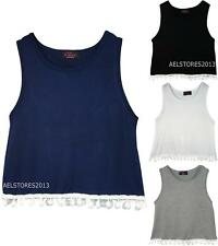 Kids Girls Pom Pom Vest Sleeveless Top T-Shirt New Style Age Size 3-14 Years