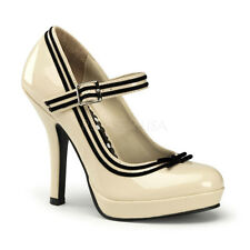 "Pin Up Couture SECRET-15 Cream Pat Leather Pumps 4 ½"" High Heels - Party,Shoes"