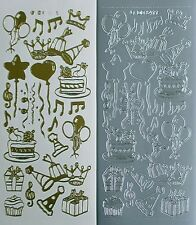Party Celebrations Cake Balloons Hats Parcels Music Notes PEEL OFF STICKERS