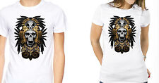 Native American Tee Indian Skull T-shirt Feathers Warrior Shirt Mens Womens D91