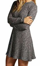 Womens Ladies Turtle Neck Long Sleeve Polo Dress Knitted Ribbed Swing Skater