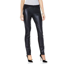 NWT DKNY  Black Faux Leather Low-Rise Panel Skinny Jeans 4 6 $120