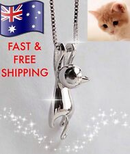 Cute Hanging Cat Pendant Necklace 925 Sterling Silver Option + FREE Gift Pouch