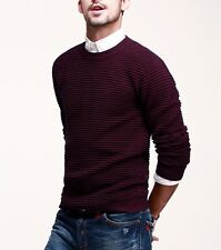 Mens High Quality Long Sleeve Round Neck Causal Sweater Cotton Knitted Sweater