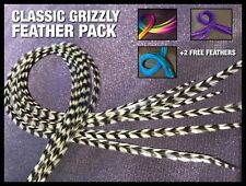 """Real Feather Hair Extensions Natural Grizzly Feathers 8""""-9.5"""" Long Beads ToolKit"""