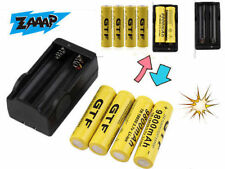4pcs 18650 3.7V 5000/9800mAh Li-ion Rechargeable Battery+Charger Indicator ~WS