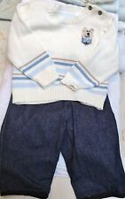 NEW SET OUTFIT CREAM BLUE DENIM SWEATER PANT BOYS BABY INFANT TODDLER 18 MONTHS