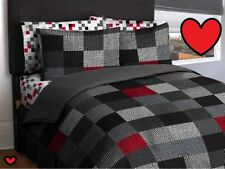 💗 ALL SIZES Geo Blocks Bed in a Bag Set Bedding Comforter Sheets Red Grey