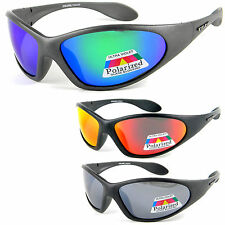 UV400 POLARIZED Sports Wrap Around Sunglasses Mirror Biker Fishing (Marine)